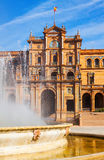 Central building and fontain at  Plaza de Espana Royalty Free Stock Image
