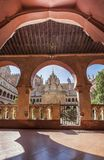 Central building Guadalupe Monastery cloister from open arcade. Stock Images