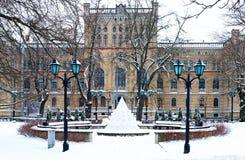Central building of Latvian University in Riga, Latvia Stock Photography
