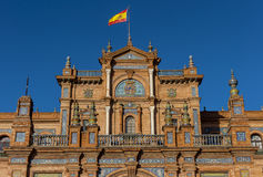 Central building main entrance at the Plaza de Espana in Seville Royalty Free Stock Images