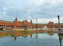 Central Building of Plaza de España in Seville. A View of Plaza de España and the River in Seville, Spain Royalty Free Stock Photo