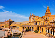 Central building  at  Plaza de Espana  in  day time. Seville, S Stock Photo