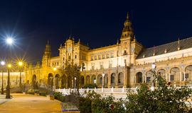Central building of Plaza de Espana in midnight Royalty Free Stock Photo