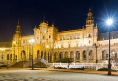 Central building of Plaza de Espana in midnight Royalty Free Stock Photography