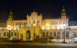 Central building of Plaza de Espana in night Royalty Free Stock Images