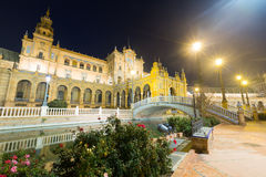 Central building at Plaza de Espana at Seville in night Stock Images