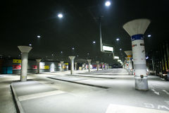 Central bus station in Munich. MUNICH, GERMANY - MAY 6, 2017 : Empty central bus station at night in Munich, Germany Stock Images