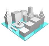 Central Business District in 3d Stock Images