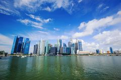 Central business district building of Singapore city with blue s Stock Image