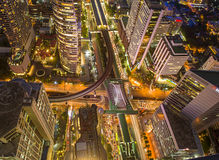 Central Business district, CBD of Bangkok. Aerial view of Central Business district, CBD of Bangkok on Sathorn road shooting on twilight sunsets royalty free stock image