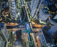 Central Business district, CBD of Bangkok. Aerial view of Central Business district, CBD of Bangkok on Sathorn road shooting on twilight sunsets. Tilt-shift royalty free stock photography