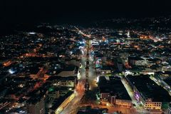 Wellington Roads At Night, High Angle, New Zealand. stock image
