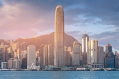 Central business downtown of Hong Kong city seafront Royalty Free Stock Photography