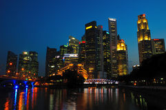 Singapore River CBD. Central Bussiness District Singapore in the dusk view Royalty Free Stock Photos