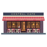 Central cafe building. Summer terrace