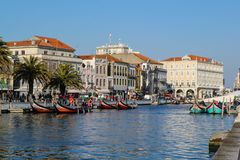 Canal with boats in Aveiro, Portugal Royalty Free Stock Photo