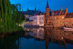 The central canal of Bruges. At the evening (Belgium Royalty Free Stock Photos