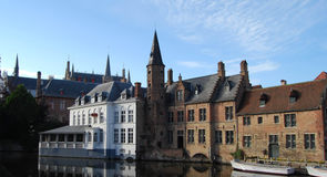Central Canal & Harbour in Bruges. Canalside hotels and warehouses in Bruges Royalty Free Stock Image