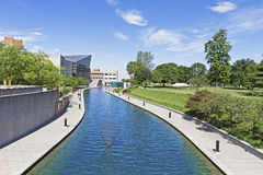 Central canal in Indianapolis, Indiana. A beautiful day at scenic central canal in Indianapolis, Indiana, USA royalty free stock image