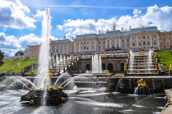 Central Cascade. The central Cascade of Petrodvorets in St. Petersburg Stock Photos