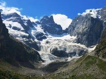The Central Caucasian ridge. The beatiful view on the glacier Big Kichkinikol Stock Image