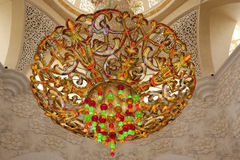 The Central chandelier. the Sheikh Zayed mosque Royalty Free Stock Photos