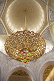 The Central chandelier White mosque in Abu Dhabi. The UAE. Royalty Free Stock Photography