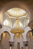 The Central chandelier White mosque in Abu Dhabi. The UAE. Royalty Free Stock Photo