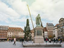 Central Christmas Tree Install in Place Kleber with General Monu. STRASBOURG, FRANCE - OCT 30, 2017: Strasbourg Christmas Tree Install in central Place Kleber Stock Image