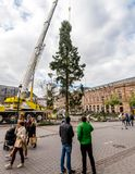 Central Christmas Tree Install in Place Kleber. STRASBOURG, FRANCE - OCT 30, 2017: Male couple looking at the Strasbourg Christmas Tree Install in central Place Royalty Free Stock Photography