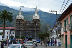 Central church of Baños, Ecuador. Main church of the town of Baños, Ecuador stock photos