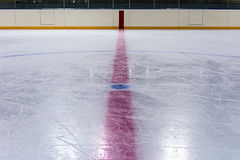 Central circle in hockey rink stock photo