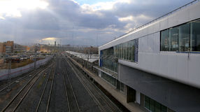 Central cirkel för Moskva - liten cirkel, MCC eller MK MZD, Ryssland ZIL-järnvägsstation Royaltyfria Foton