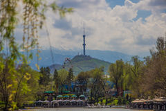 Central City Park, Almaty, Kazakhstan. View of the lake and Kok Stock Photography