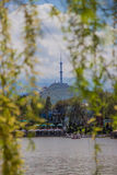 Central City Park, Almaty, Kazakhstan. View of the lake and Kok Royalty Free Stock Images