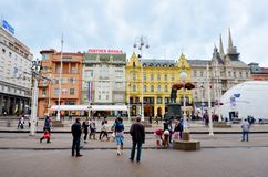 Jelacic Square in  Zagreb Croatia in a Rainy Day Royalty Free Stock Photo