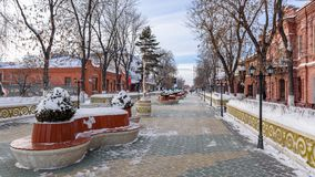 Central city street. Central city strePedestrian street in the center of the winter city going to the distanceet Stock Images