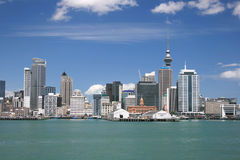 Central city waterfront. View on Auckland from North Shore City across Auckland harbor stock photo