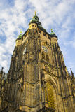 Central clock tower of the Cathedral of St. Vitus in Prague Royalty Free Stock Photo