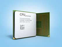 Central Computer Processors CPU High resolution 3d render on blu Royalty Free Stock Image