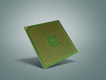 Central Computer Processors CPU High resolution 3d render on gre. Y Royalty Free Stock Photo