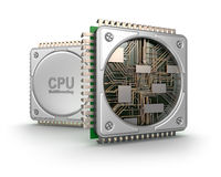 Central computer processors CPU. On white background Royalty Free Stock Photos
