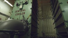 Central coolers of vessel cooling system. stock video footage