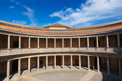 Central Courtyard in Alhambra palace at Granada Spain Royalty Free Stock Photos