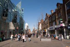 Central Croydon shopping centre,North End street. North End is a pedestrianised road in Central Croydon, which includes entrances to the town`s two main shopping stock photo