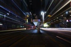 Central da estrada do DES Voeux na noite na HK Foto de Stock