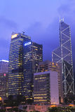 Central da vista da noite de Hong Kong foto de stock