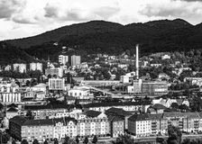 Central de calefacción en ciudad Foto de archivo libre de regalías