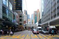 Central de Hong Kong Des Voeux Road Imagens de Stock Royalty Free