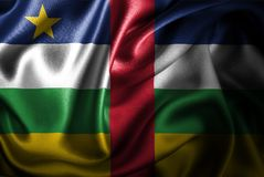 Central de la bandera de seda del satén de la república africana stock de ilustración